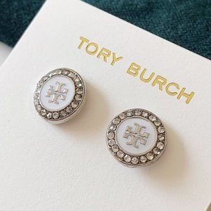 Tory Burch-white crystal earrings
